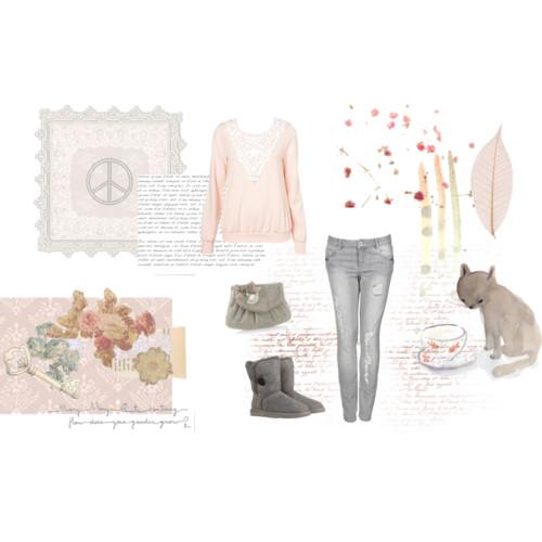 Soft pink n grey